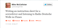 Michael McCallister's First Tweet, March 20, 2007