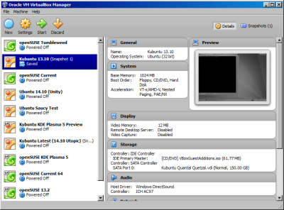 My collection of virtual machines